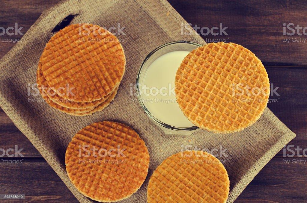 Traditional Dutch waffles stock photo