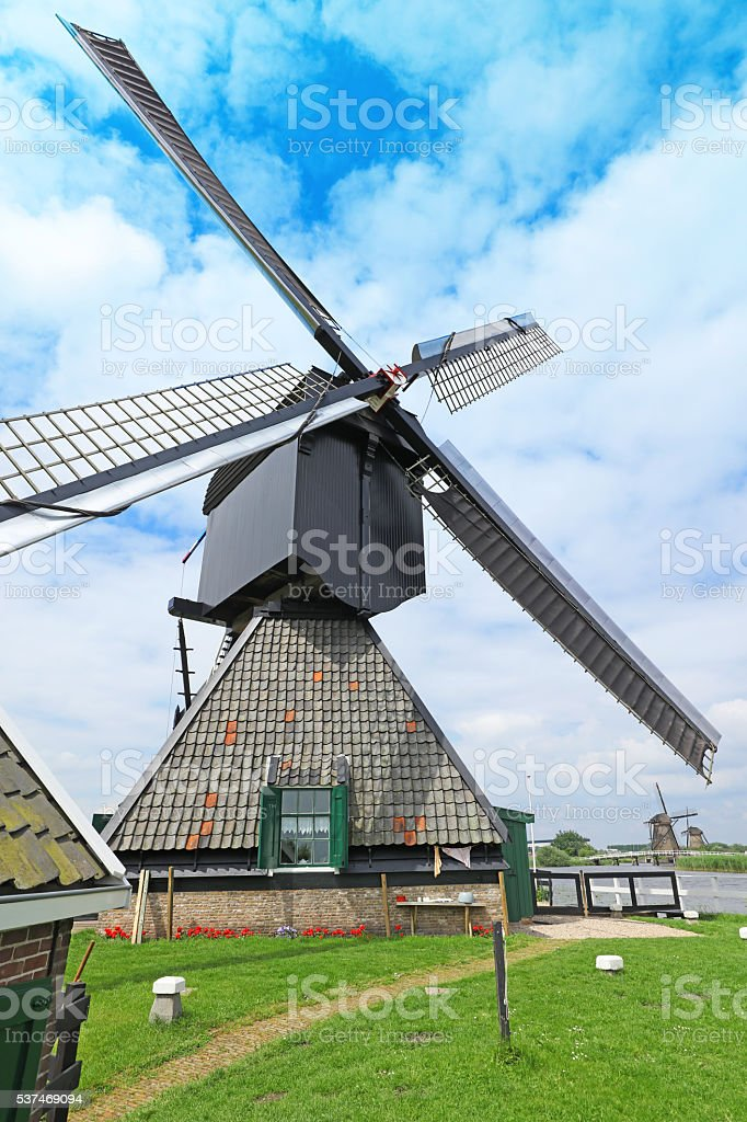 Traditional Dutch Windmill Blokweer, Kinderdijk the Netherlands stock photo