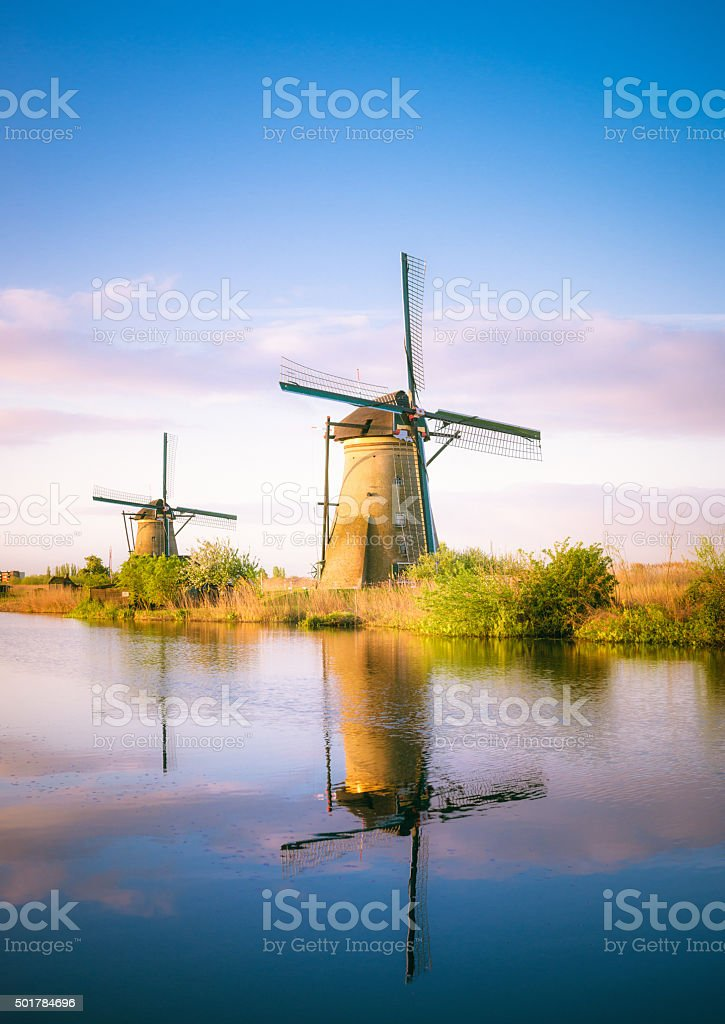 Traditional Dutch windmills at dawn stock photo