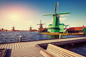 Traditional Dutch windmills from the channel Rotterdam. Holland.