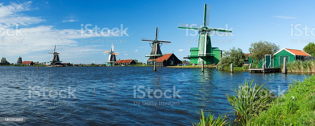 Traditional Dutch windmills in Zaanse Schans, The Netherlands royalty-free stock photo