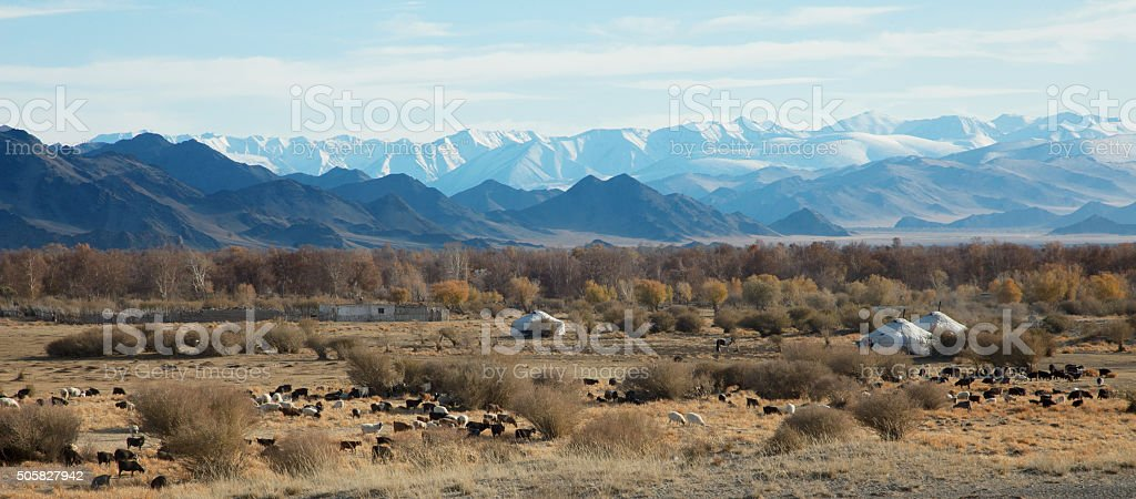 traditional dwelling of Mongolian nomadic stock photo