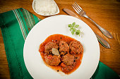 Traditional Eastern Europe meatbals on wood background