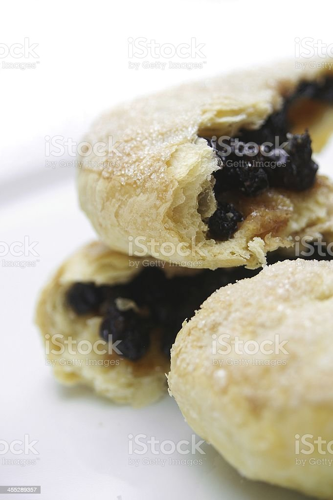 traditional Eccles cakes in pile stock photo