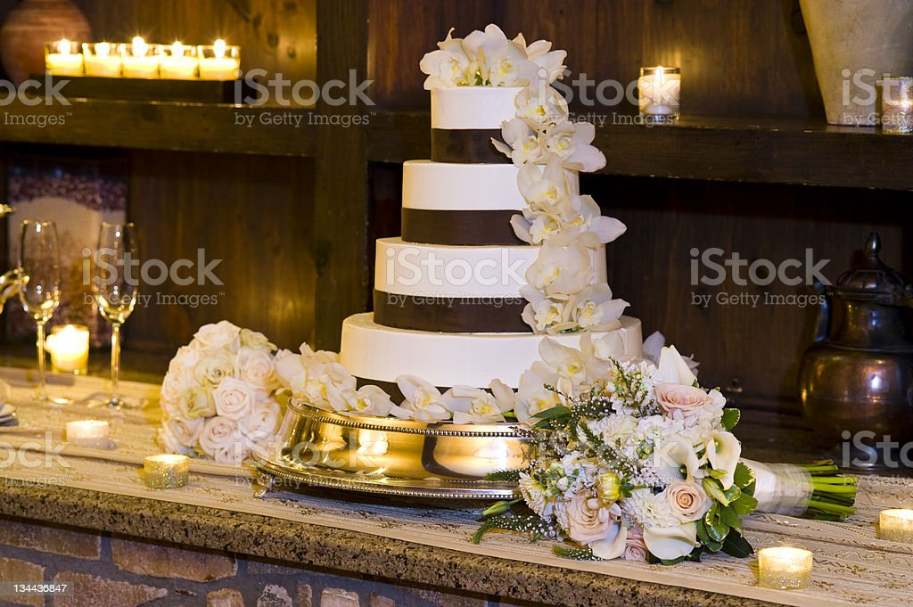 Traditional Elegant Wedding Cake Dessert Setup royalty-free stock photo