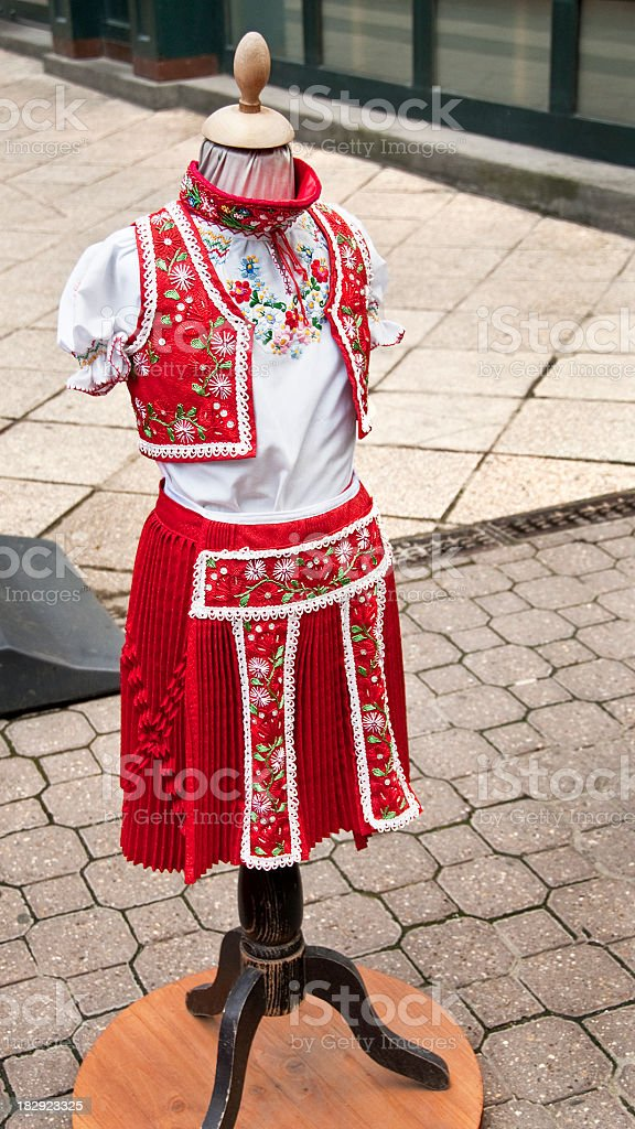 Traditional Embroidered Folk Costume Clothes Sold in Budapest Hungary royalty-free stock photo