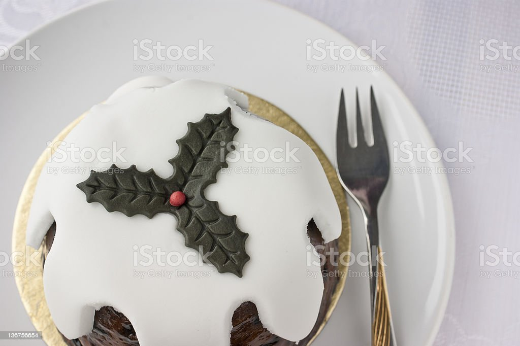 Traditional English Christmas pudding cake stock photo