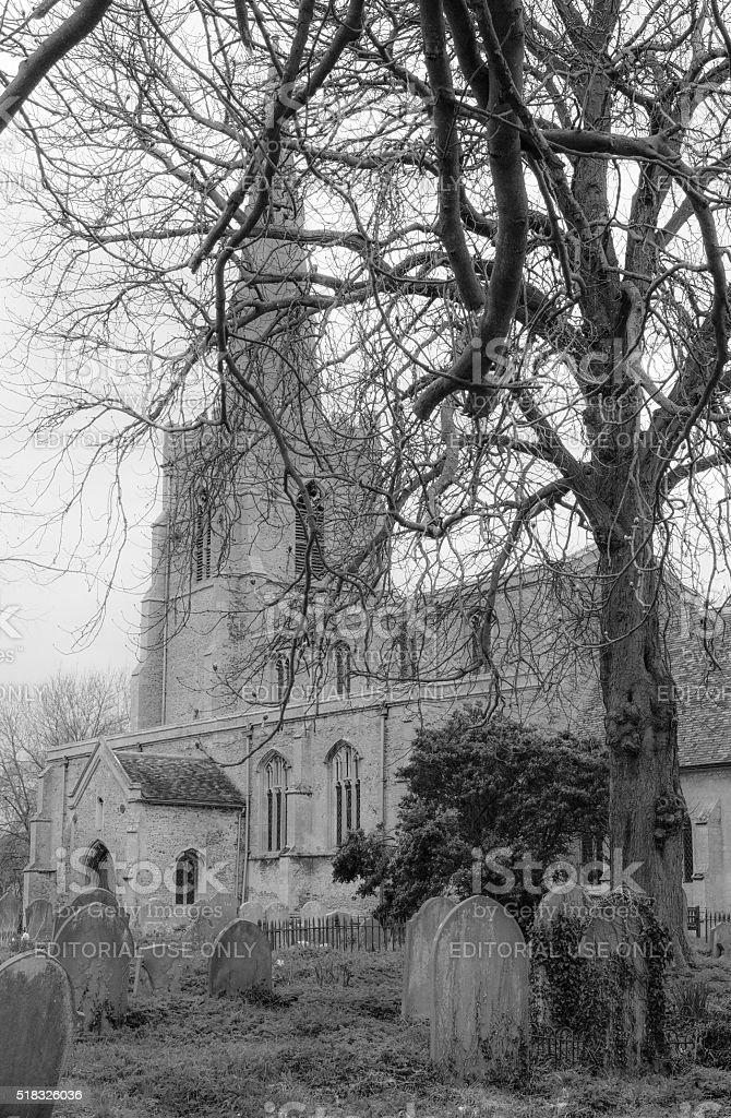 Traditional english Church and Churchyard setting stock photo