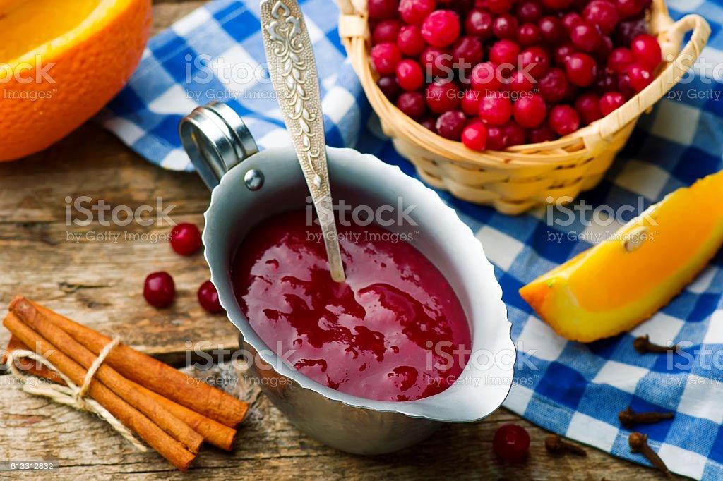 traditional English cranberry sauce stock photo