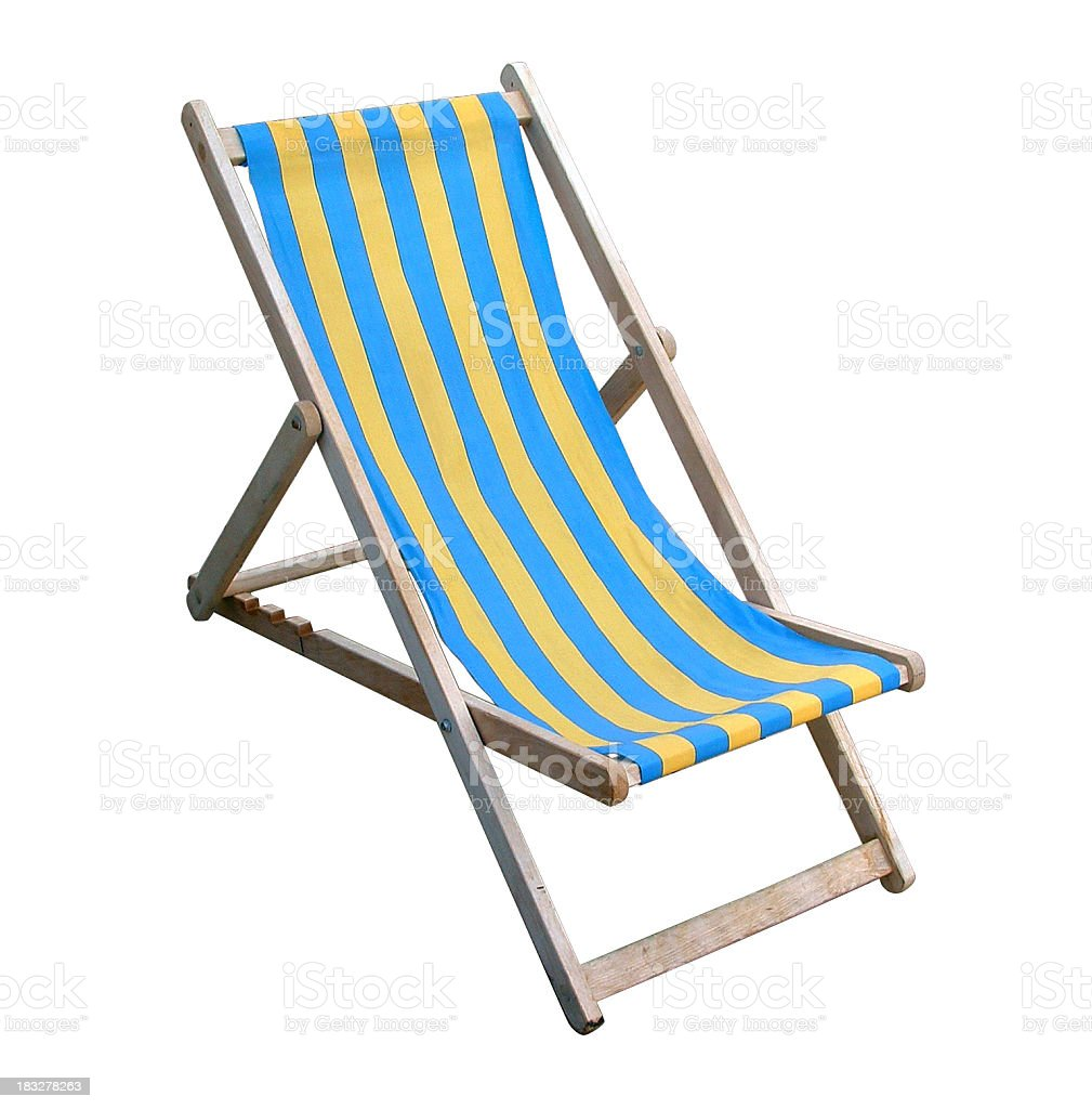 Traditional English deckchair isolated on white with clipping path royalty-free stock photo