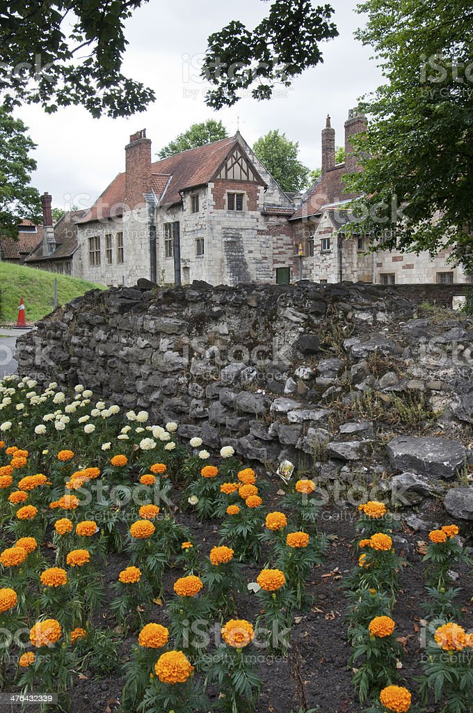 Traditional English house with a flower garden in front royalty-free stock photo