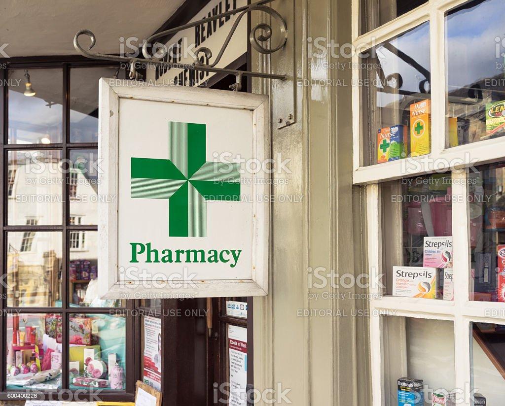Traditional English pharmacy exterior stock photo