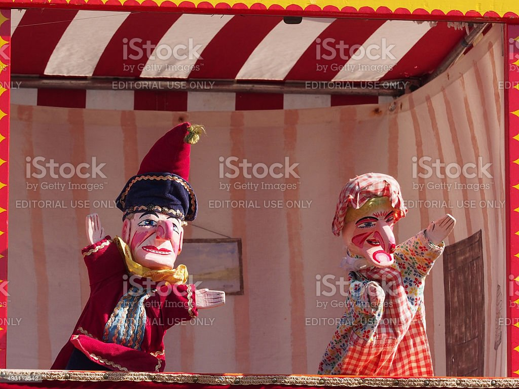 Traditional English Punch and Judy Puppets stock photo