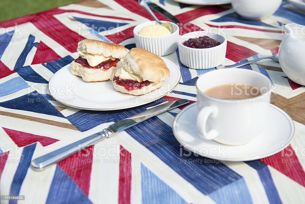 Traditional English tea on patriotic tablecloth stock photo