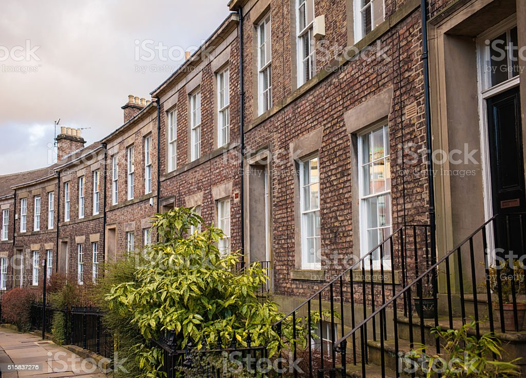 Traditional English terraced houses in Newcastle stock photo