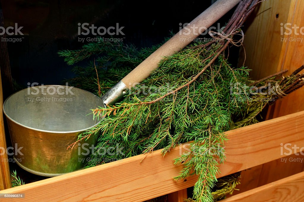 Traditional equipment for Russian bath from wood stock photo