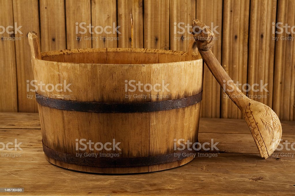 Traditional equipment for Russian bath stock photo