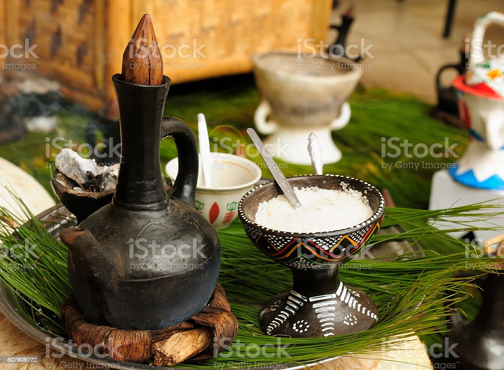 Traditional ethiopian coffee pot stock photo