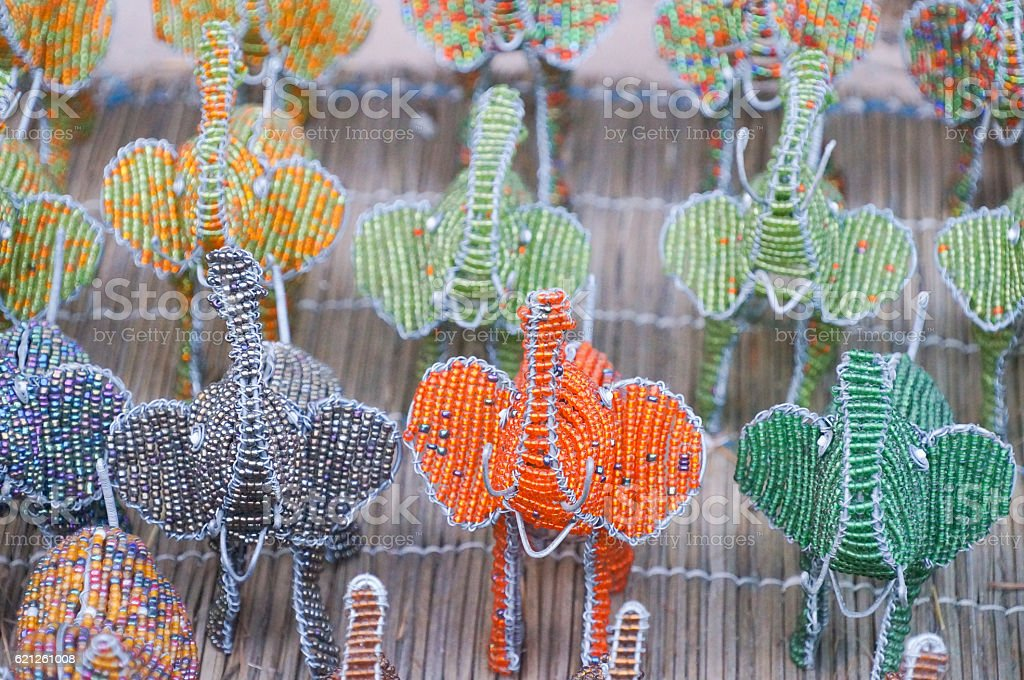 Traditional ethnic handmade bead wire toys elephant,South Africa. stock photo