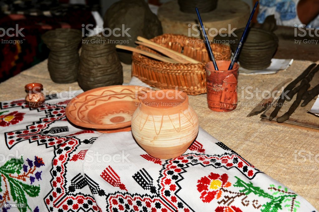Traditional evening sitting with handmade pottery stock photo