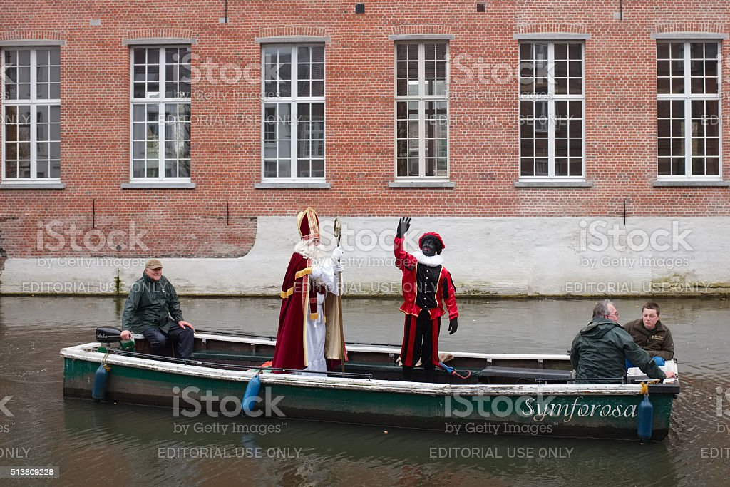 Traditional festivities of Sinterklaas in Belgium stock photo