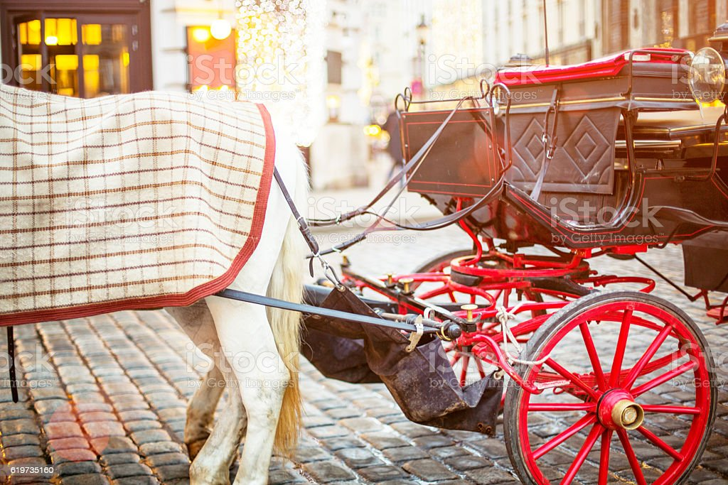 Traditional Fiaker with horses at Christmas in Vienna stock photo