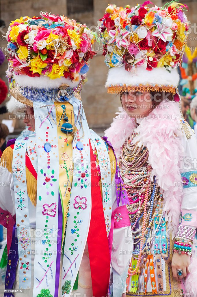 Traditional figures of 'Cobres-Vilaboa' Carnival, Galicia, Spain stock photo