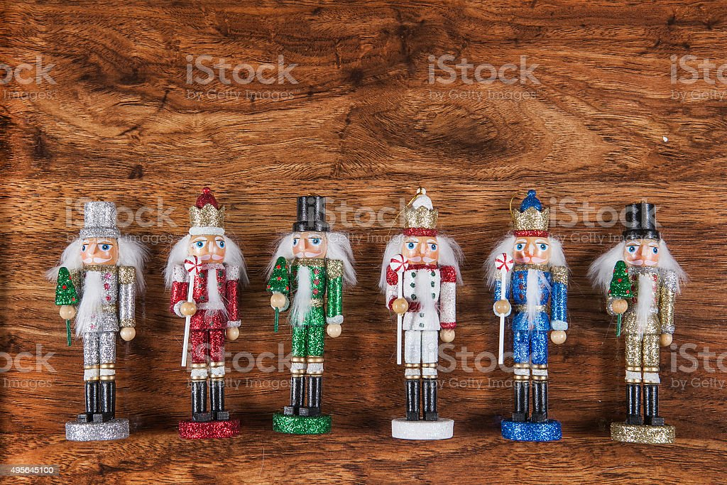 Traditional figurine christmas nutcracker wearing a old military style uniform stock photo