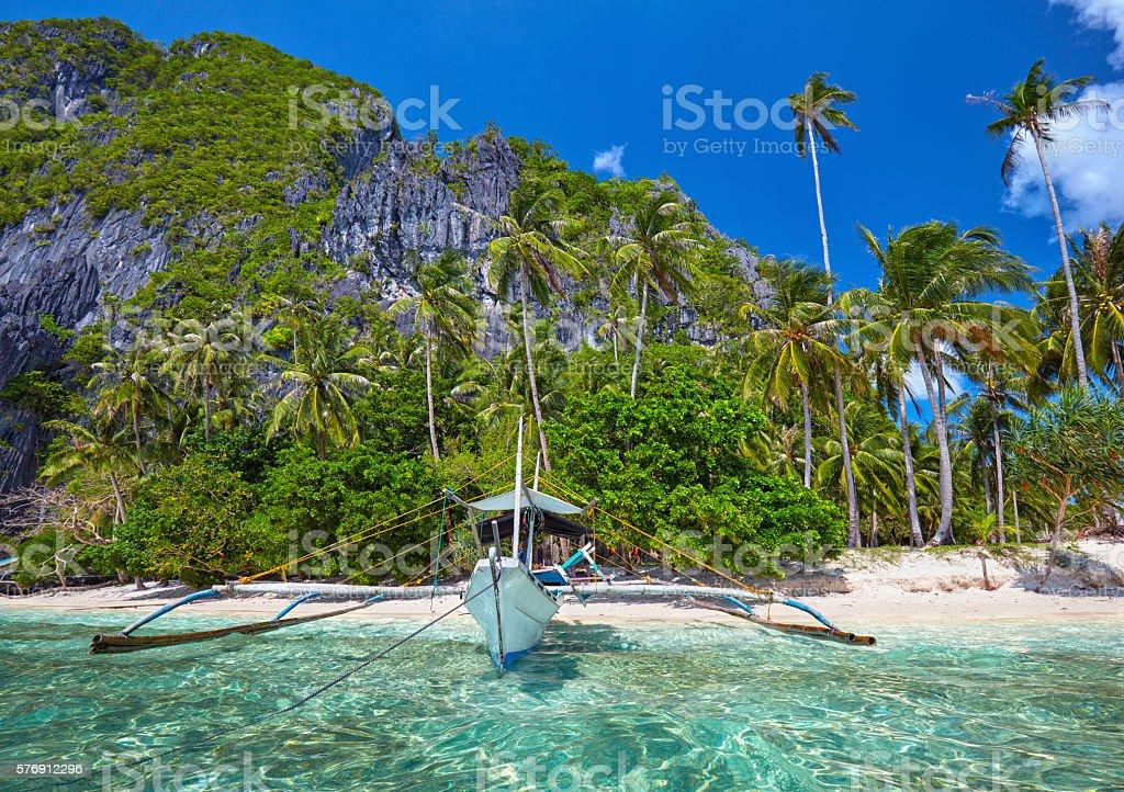 Traditional filippino boat at El Nido bay. Palawan island, Phili stock photo