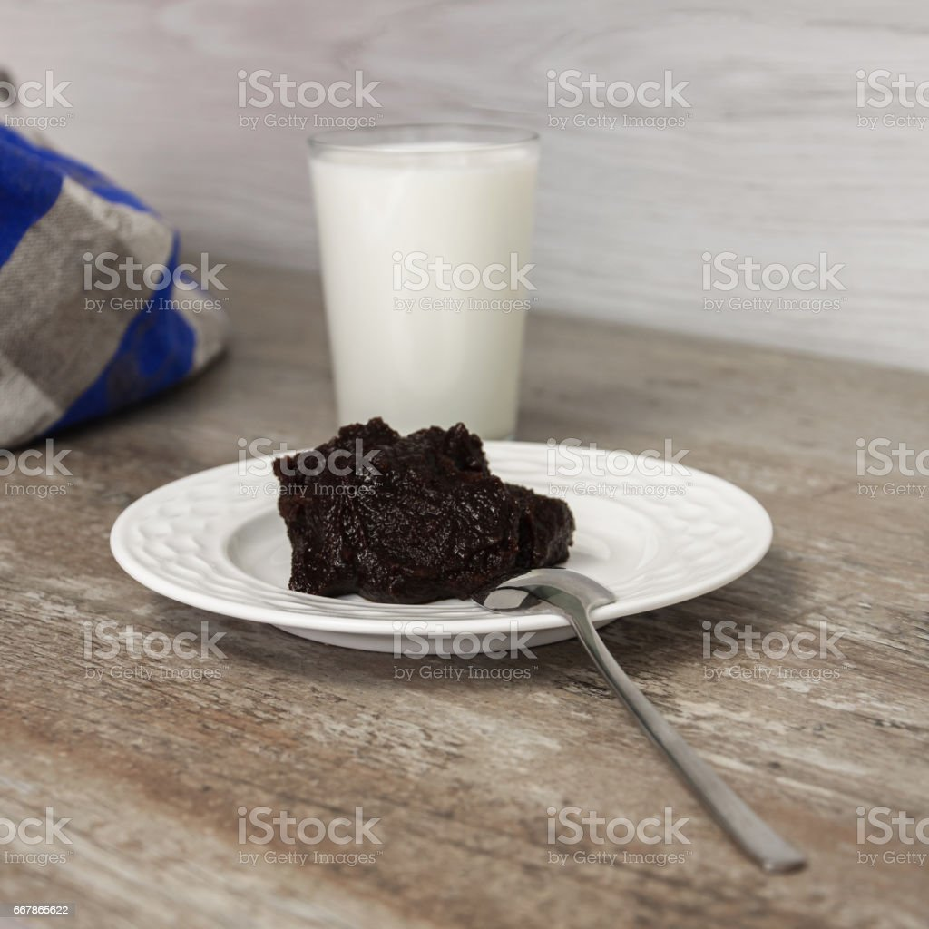 Traditional finnish and Swedish Easter food - pudding, mammi, rye pudding with milk. stock photo