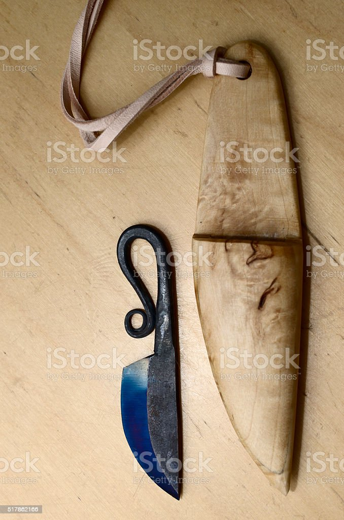 traditional finnish knife puukko and wooden sheath stock photo