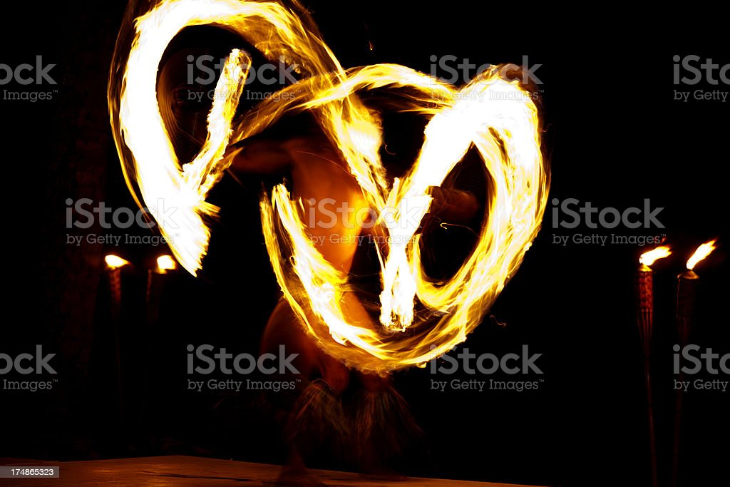 Traditional Fire Dance Performance of Hawaii stock photo