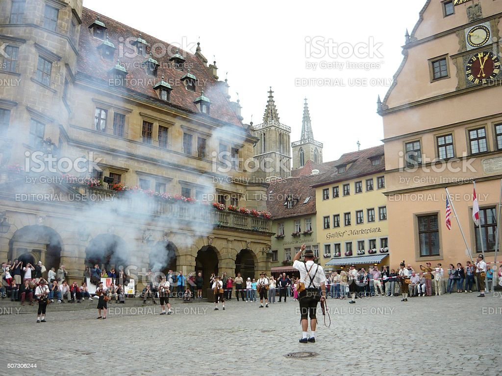 Traditional Firing demonstration in Rothenburg stock photo
