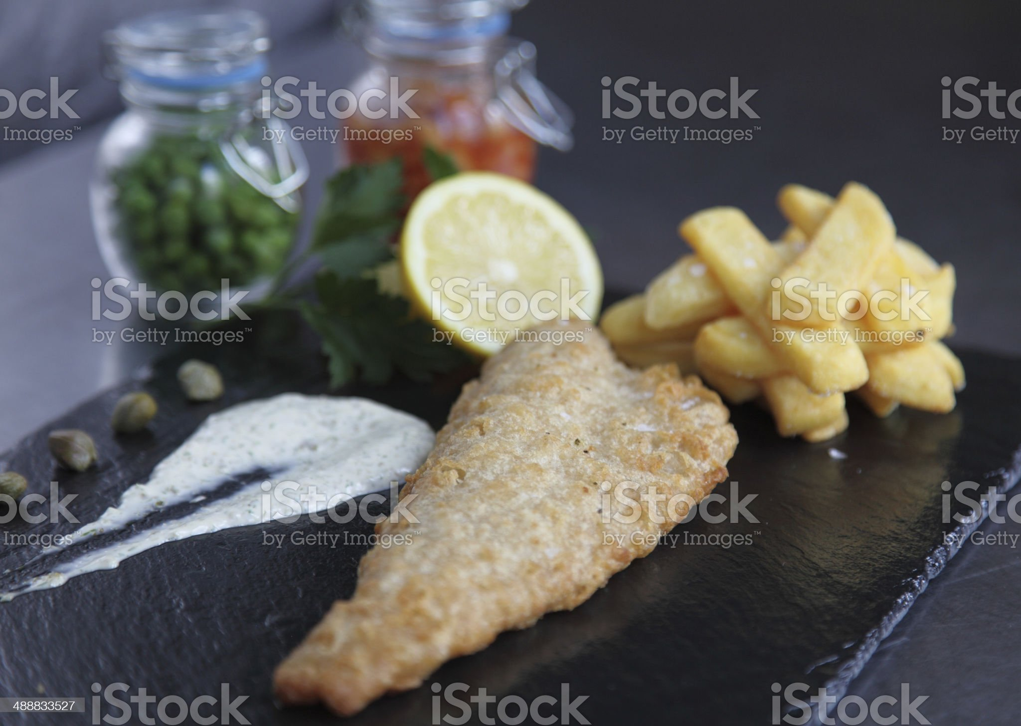 Traditional fish and chips royalty-free stock photo