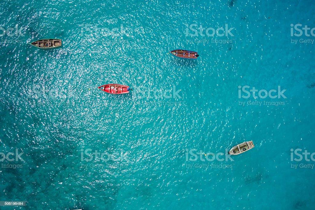 Traditional fisher boat in Santa Maria  in Sal Cape Verde stock photo