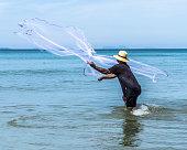 Traditional Fisherman Casting Net Koh Lanta Thailand Asia