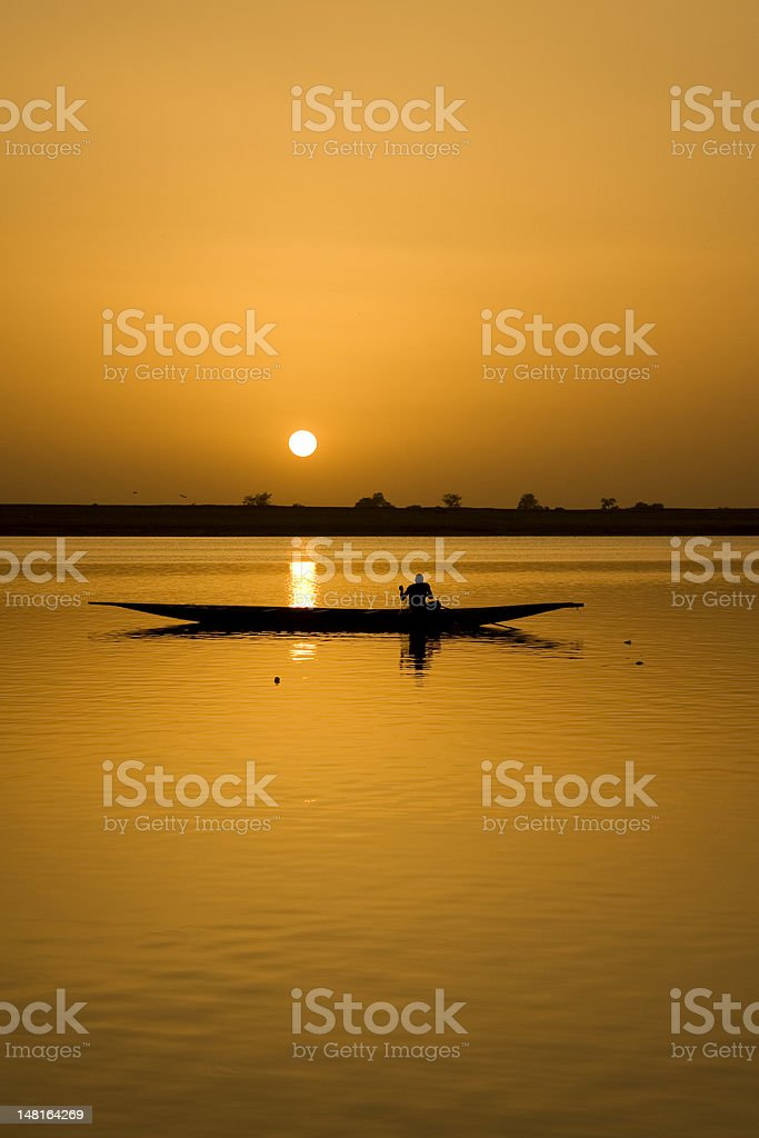 Traditional Fisherman Silhouette stock photo