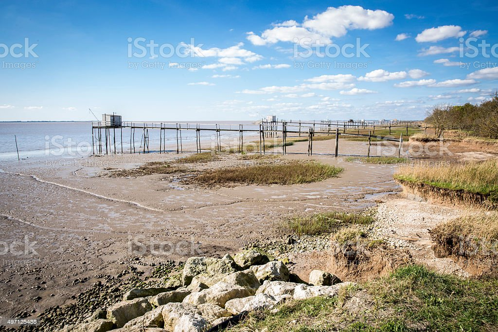 traditional fisherman's hut south west of France stock photo