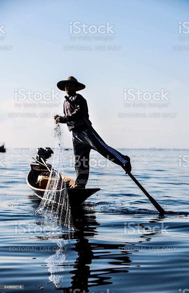 Traditional fishing at Inle Lake stock photo