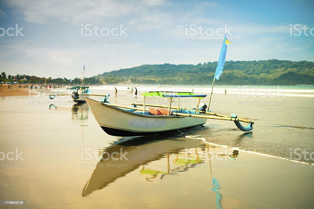 Traditional Fishing Boat in Java, Indonesia stock photo