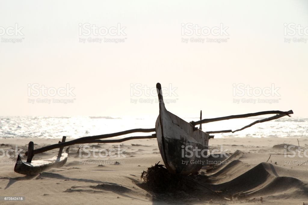 Traditional Fishing Boat In Madagascar stock photo