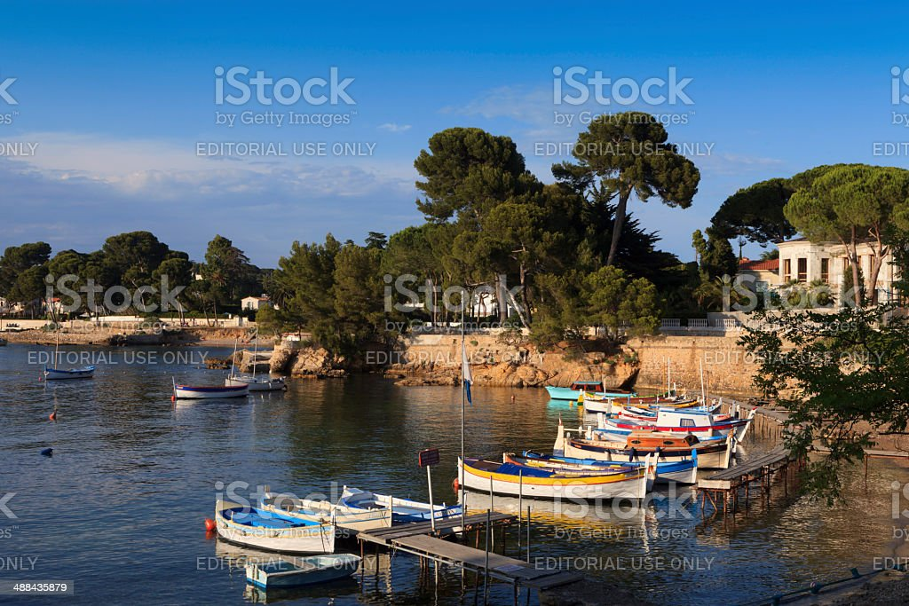 traditional fishing boats in Port de l'Olivette at Antibes stock photo