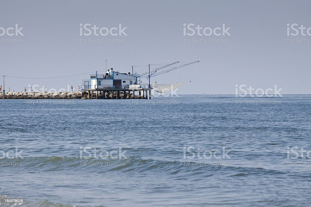 Traditional fishing house at Adriatic sea royalty-free stock photo