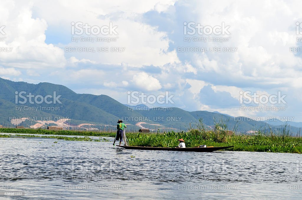 Traditional fishing in Burma stock photo