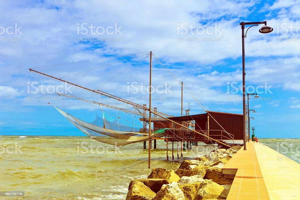 Traditional fishing shacks in Italy royalty-free stock photo