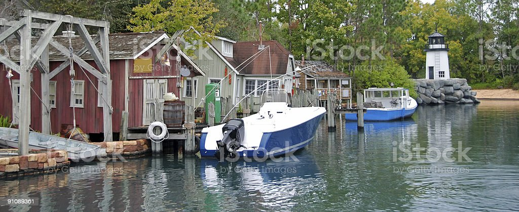 Traditional fishing village in New England stock photo
