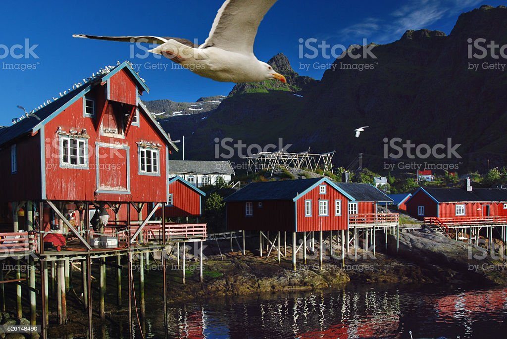 Traditional fishing village, Lofoten islands, Norway stock photo