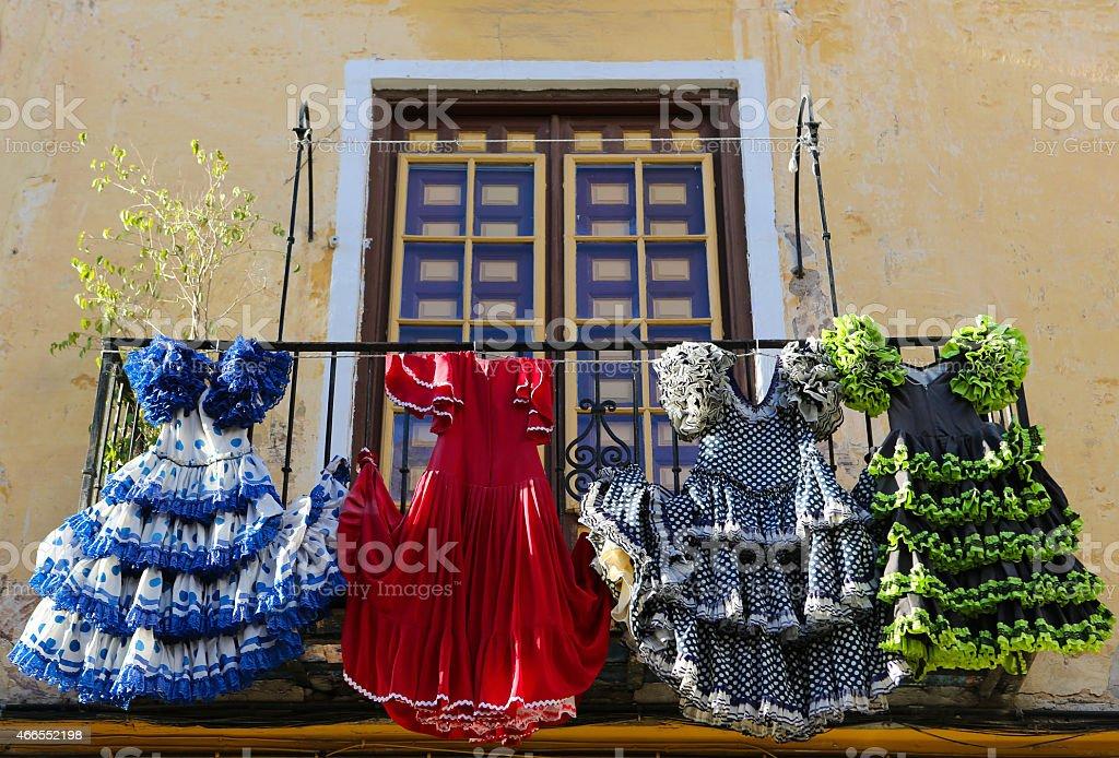 Traditional flamenco dresses stock photo