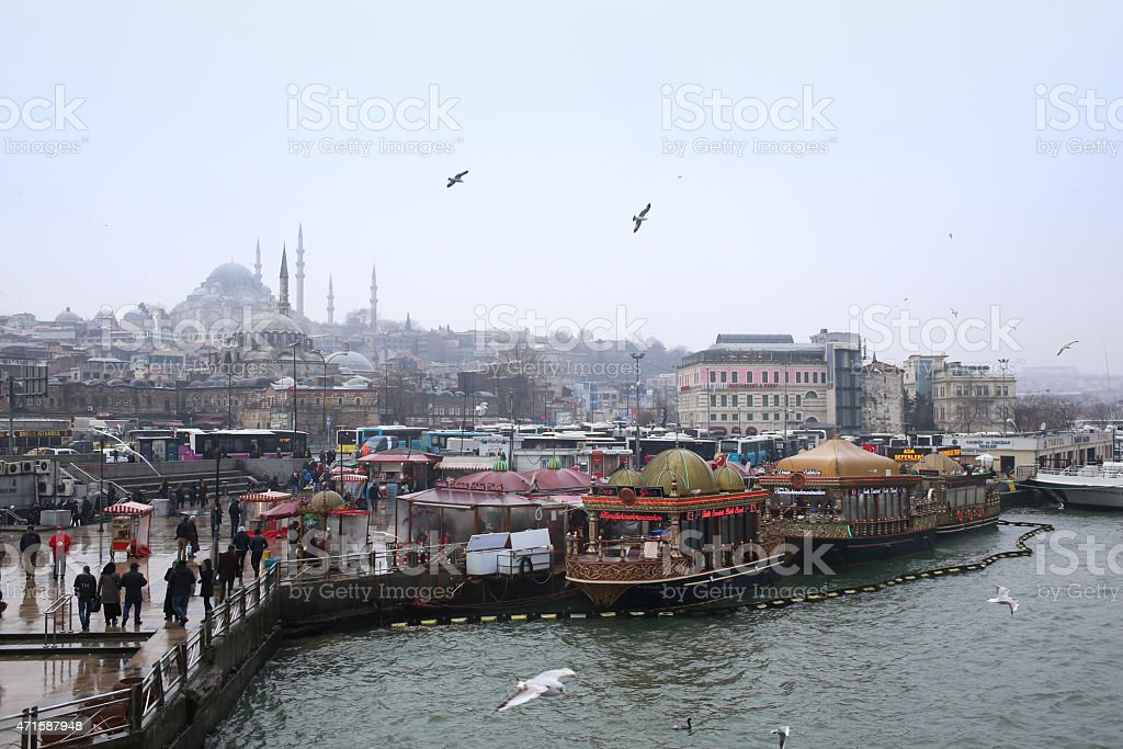 Traditional floating fish restaurants at the Eminonu pier in Istanbul stock photo