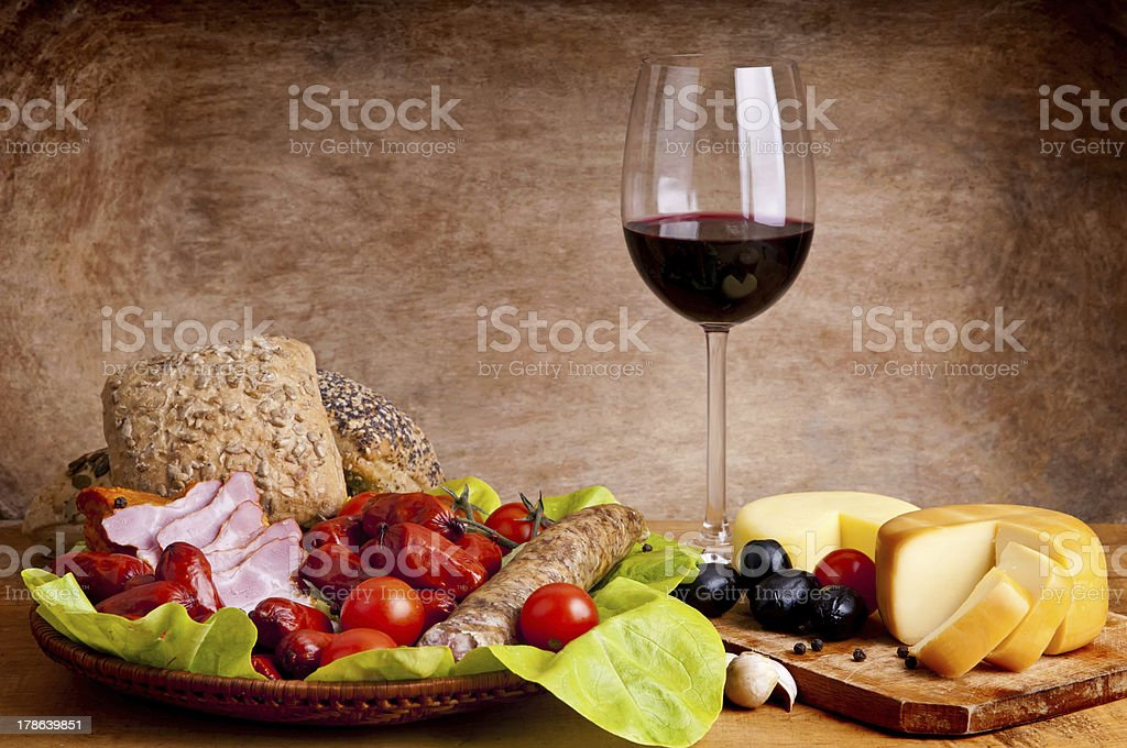 traditional food and wine royalty-free stock photo